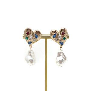 4/$25 Gemstones Heart Faux Pearl Earrings